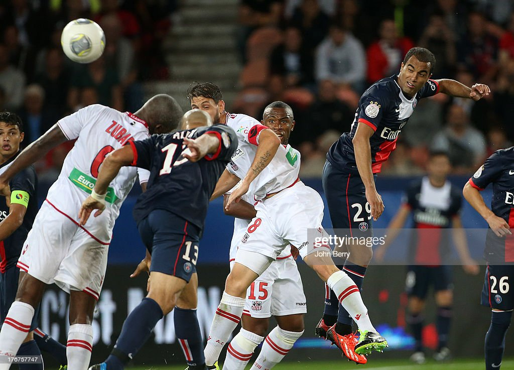 <a gi-track='captionPersonalityLinkClicked' href=/galleries/search?phrase=Lucas+Moura+-+Attacking+Midfielder+and+Winger+-+Born+1992&family=editorial&specificpeople=7910925 ng-click='$event.stopPropagation()'>Lucas Moura</a> of PSG in action during the Ligue 1 match between Paris Saint Germain FC and AC Ajaccio at the Parc des Princes stadium on August 18, 2013 in Paris, France.