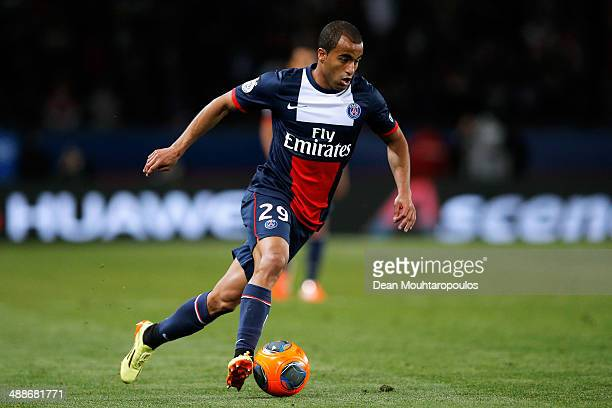 Lucas Moura of PSG in action during the Ligue 1 match between Paris SaintGermain FC and Stade Rennais FC at Parc des Princes on May 7 2014 in Paris...