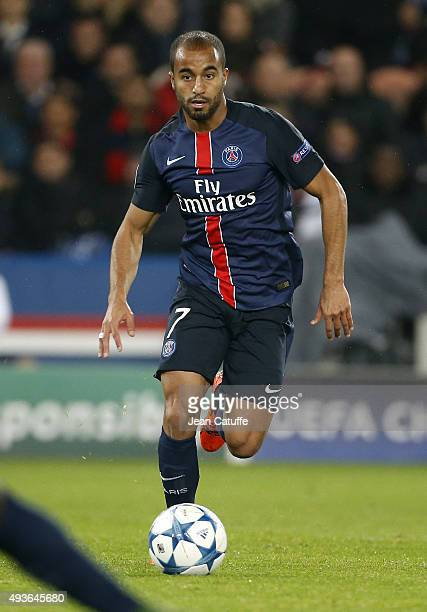 Lucas Moura of PSG in action during the UEFA Champions League match between Paris SaintGermain and Real Madrid at Parc des Princes stadium on October...