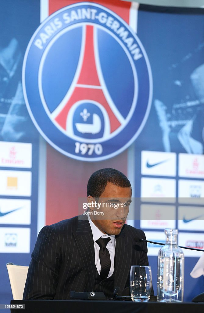 Lucas Moura of PSG is officially introduced as a player of Paris Saint-Germain during a press conference and a jersey presentation with Nasser Al-Khelaifi, president of PSG and Leonardo, manager of PSG, at the Museum of Islamic Art on January 1, 2013 in Doha, Qatar.