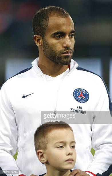 Lucas Moura of PSG looks on before the French Ligue 1 match between Stade Malherbe de Caen and Paris SaintGermain at Stade Michel D'Ornano on...