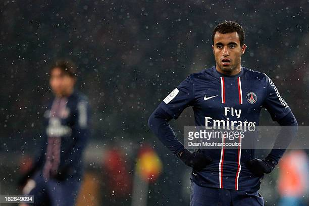 Lucas Moura of PSG looks on during the Ligue 1 match between Paris SaintGermain FC and Olympique de Marseille at Parc des Princes on February 24 2013...