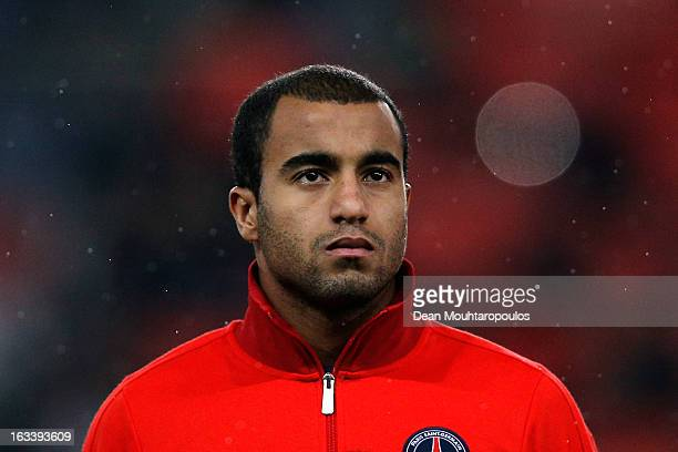 Lucas Moura of PSG looks on prior to the Round of 16 UEFA Champions League match between Paris St Germain and Valencia CF at Parc des Princes on...