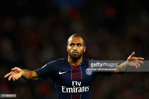 Lucas Moura of PSG signals to the fans during the Group A UEFA Champions League match between Paris SaintGermain Football Club and Fussball Club...