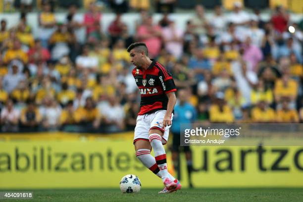Lucas Mugni of Flamengo shoot a penalty kick and celebrate his goal first of Flamengo during a match between Criciuma and Flamengo as part of...