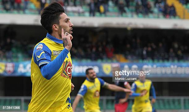 Lucas Nahuel Castro of AC Chievo Verona celebrates after scoring the opening goal during the Serie A match between AC Chievo Verona and Genoa CFC at...