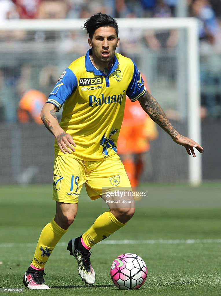 Lucas Nahuel Castro of AC Chievo Verona in action during the Serie A match between Atalanta BC and AC Chievo Verona at Stadio Atleti Azzurri d'Italia...
