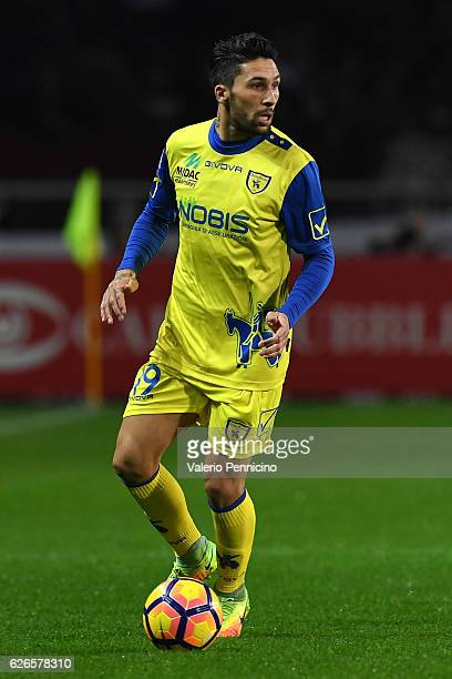 Lucas Nahuel Castro of AC ChievoVerona in action during the Serie A match between FC Torino and AC ChievoVerona at Stadio Olimpico di Torino on...