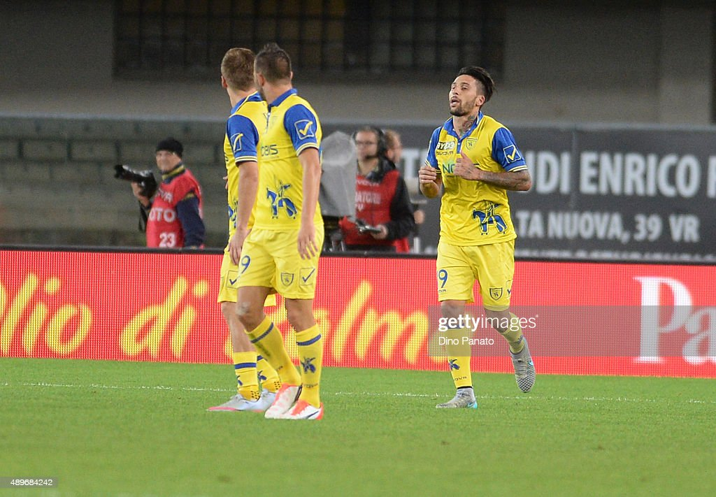 Lucas Nahuel Castro of Chievo Verona celebrates after scoring his opening goal during the Serie A match between AC Chievo Verona and Torino FC at...