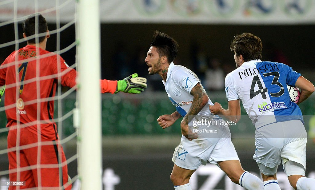 Lucas Nahuel Castro of Chievo Verona celebrates after scoring his team's first goal during the Serie A match between AC Chievo Verona and Hellas...