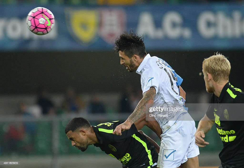 Lucas Nahuel Castro of Chievo Verona scores his team's first goal during the Serie A match between AC Chievo Verona and Hellas Verona FC at Stadio...