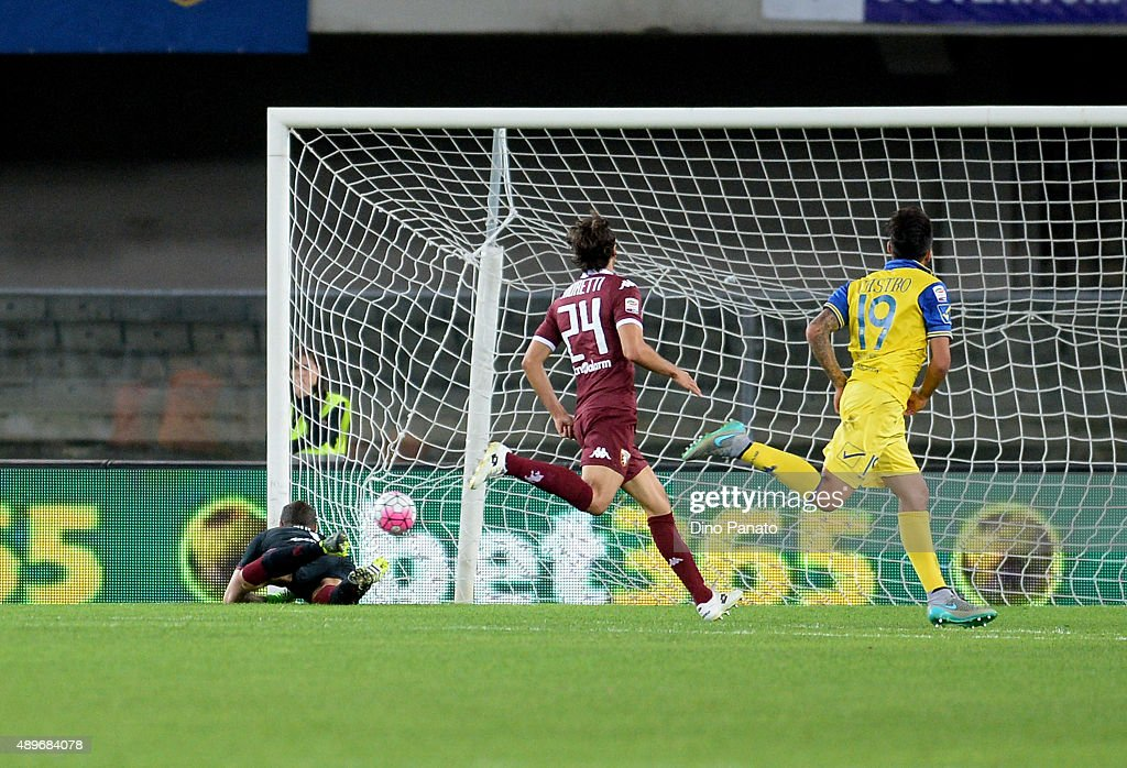 Lucas Nahuel Castro of Chievo Verona scores his team's opening goal during the Serie A match between AC Chievo Verona and Torino FC at Stadio...