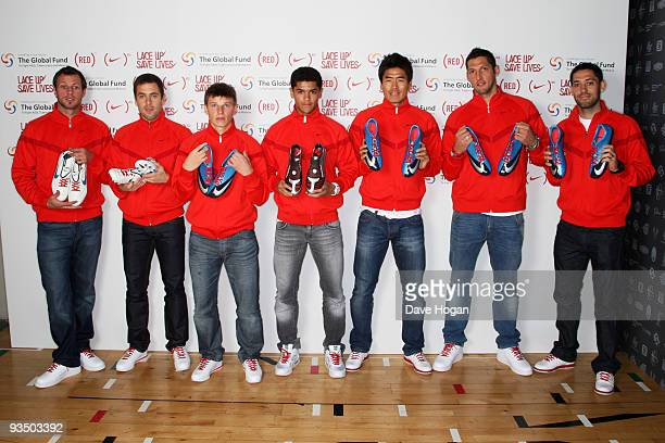 Lucas Neil Joe Cole Andrei Arshavin Denilson Seol KiHyeon Marco Materazzi and Clint Dempsey attend the NIKE Charity Announcement at NikeTown on...