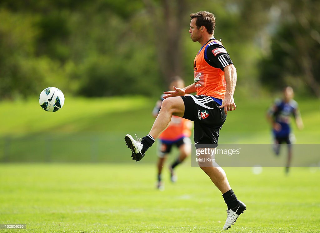 Lucas Neill controls the ball during a Sydney FC A-League training session at Macquarie Uni on February 28, 2013 in Sydney, Australia.