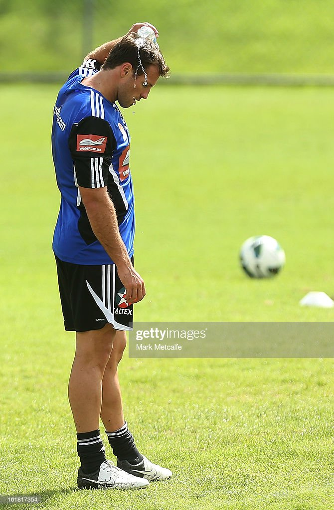 <a gi-track='captionPersonalityLinkClicked' href=/galleries/search?phrase=Lucas+Neill&family=editorial&specificpeople=213118 ng-click='$event.stopPropagation()'>Lucas Neill</a> cools off during a Sydney FC A-League training session at Macquarie Uni on February 17, 2013 in Sydney, Australia.