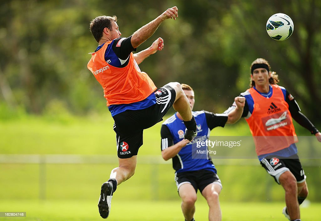 <a gi-track='captionPersonalityLinkClicked' href=/galleries/search?phrase=Lucas+Neill&family=editorial&specificpeople=213118 ng-click='$event.stopPropagation()'>Lucas Neill</a> defends during a Sydney FC A-League training session at Macquarie Uni on February 28, 2013 in Sydney, Australia.