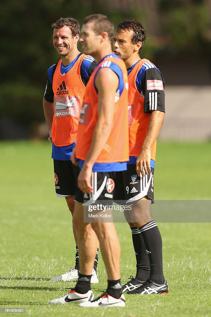 Lucas Neill looks on during a Sydney FC A-League training session at Macquarie Uni on February 18, 2013 in Sydney, Australia.