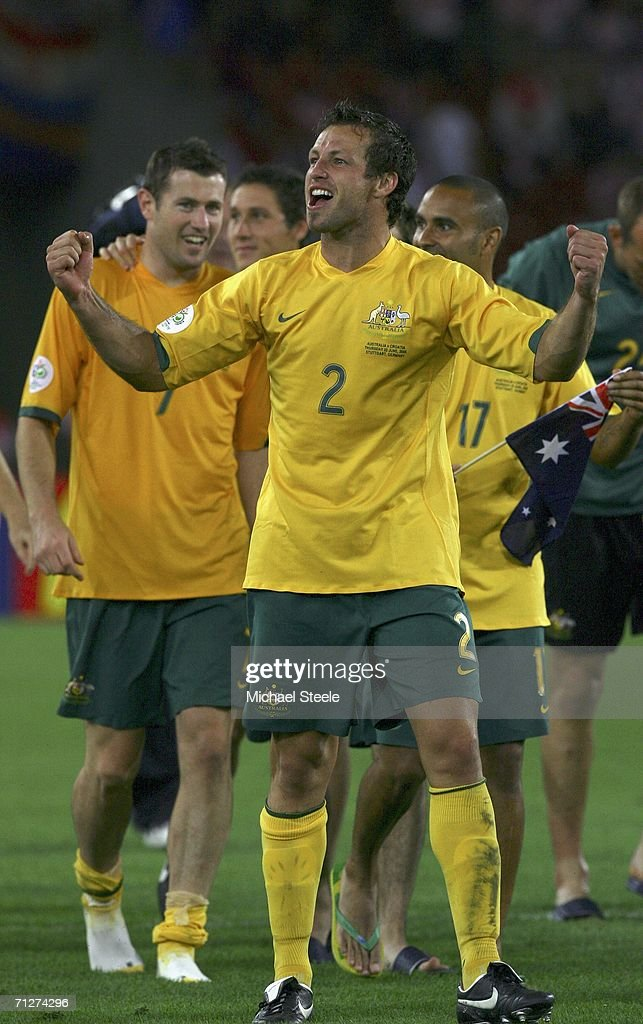Lucas Neill (C) of Australia and teammates celebrate following their team's 2-2 draw during the FIFA World Cup Germany 2006 Group F match between Croatia and Australia at the Gottlieb-Daimler Stadium on June 22, 2006 in Stuttgart, Germany.