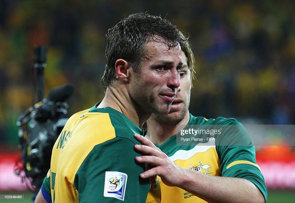 <a gi-track='captionPersonalityLinkClicked' href=/galleries/search?phrase=Lucas+Neill&family=editorial&specificpeople=213118 ng-click='$event.stopPropagation()'>Lucas Neill</a> of Australia cries after the 2010 FIFA World Cup South Africa Group D match between Australia and Serbia at Mbombela Stadium on June 23, 2010 in Nelspruit, South Africa.
