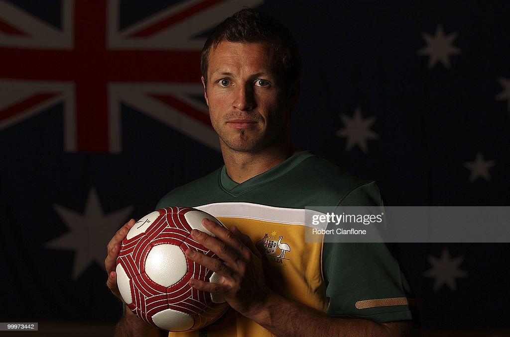 Lucas Neill of Australia poses for a portrait during an Australian Socceroos portrait session at Park Hyatt Hotel on May 19, 2010 in Melbourne, Australia.