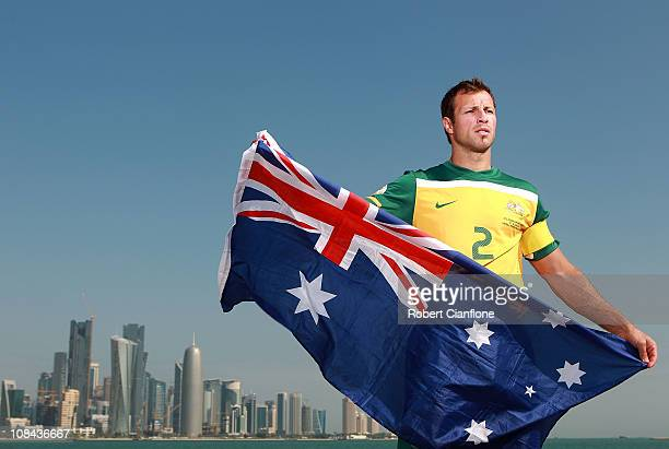 Lucas Neill of the Australian Socceroos poses during a portrait session at The Corniche on January 27 2011 in Doha Qatar