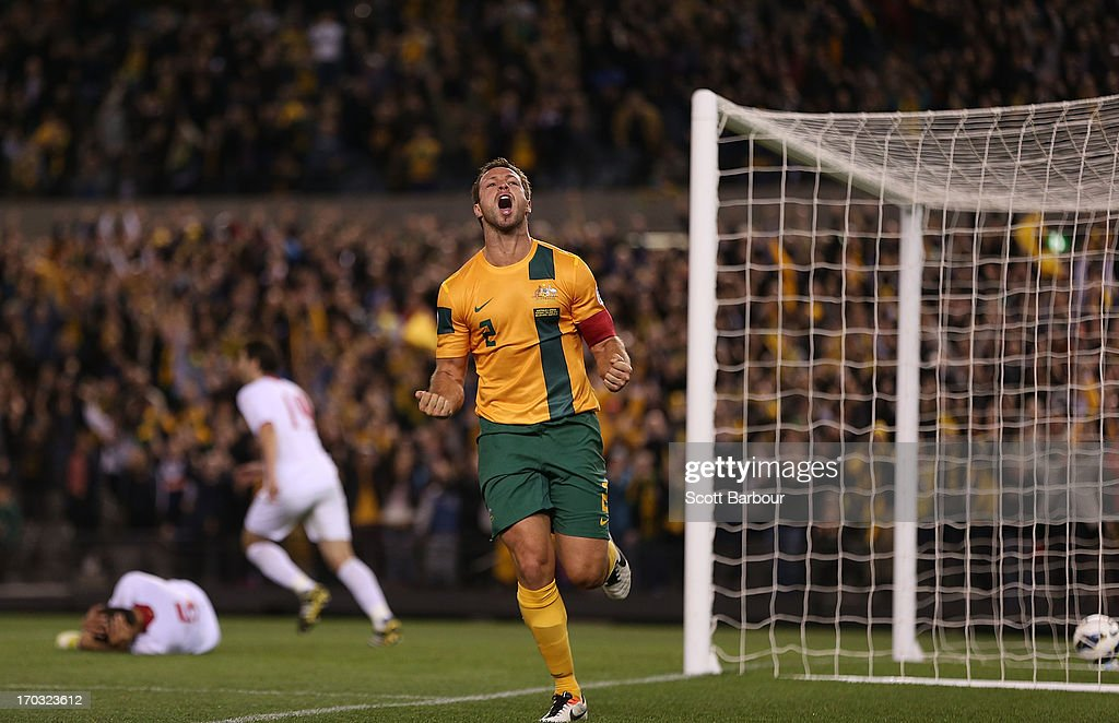 <a gi-track='captionPersonalityLinkClicked' href=/galleries/search?phrase=Lucas+Neill&family=editorial&specificpeople=213118 ng-click='$event.stopPropagation()'>Lucas Neill</a> of the Socceroos celebrates after scoring a goal during the FIFA World Cup Qualifier match between the Australian Socceroos and Jordan at Etihad Stadium on June 11, 2013 in Melbourne, Australia.