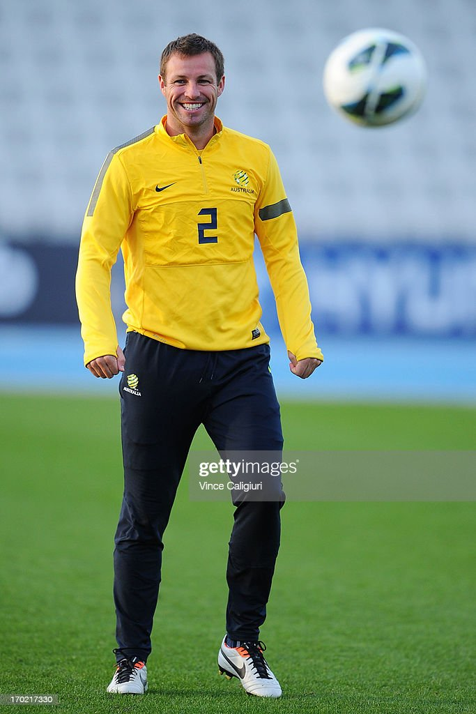<a gi-track='captionPersonalityLinkClicked' href=/galleries/search?phrase=Lucas+Neill&family=editorial&specificpeople=213118 ng-click='$event.stopPropagation()'>Lucas Neill</a> of the socceroos smiles during an Australian Socceroos training session at Lakeside Stadium on June 9, 2013 in Melbourne, Australia.