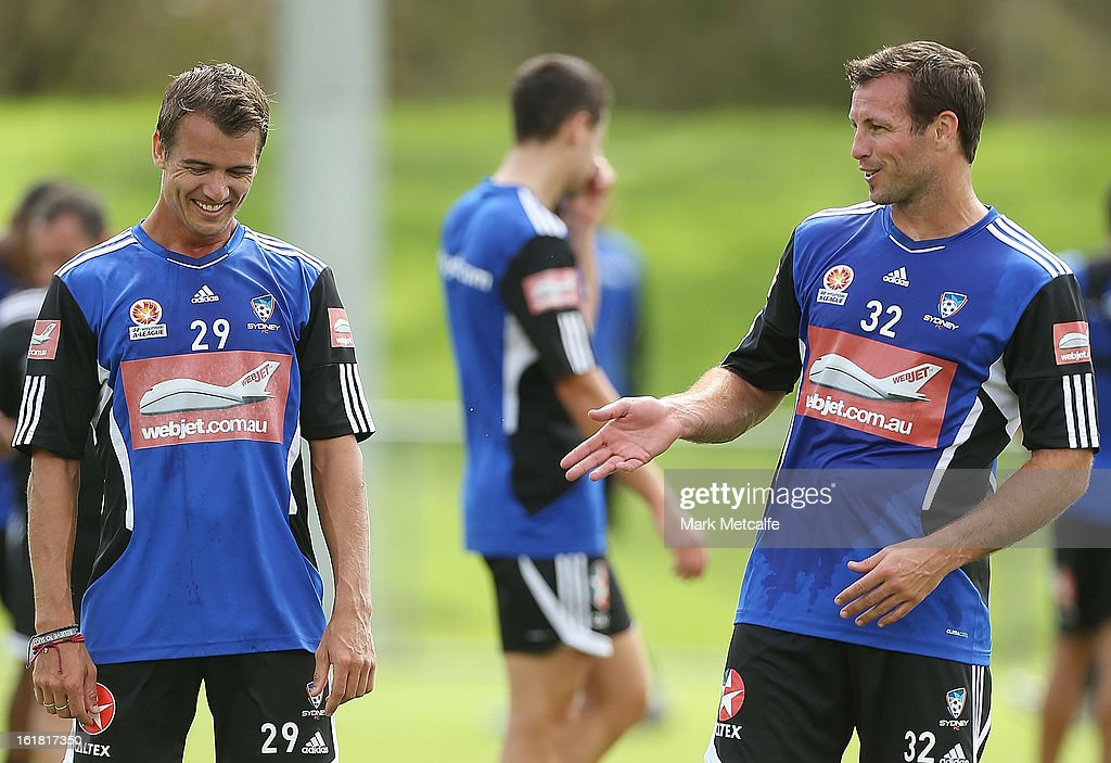 <a gi-track='captionPersonalityLinkClicked' href=/galleries/search?phrase=Lucas+Neill&family=editorial&specificpeople=213118 ng-click='$event.stopPropagation()'>Lucas Neill</a> shares a joke with <a gi-track='captionPersonalityLinkClicked' href=/galleries/search?phrase=Joel+Griffiths&family=editorial&specificpeople=2049705 ng-click='$event.stopPropagation()'>Joel Griffiths</a> during a Sydney FC A-League training session at Macquarie Uni on February 17, 2013 in Sydney, Australia.