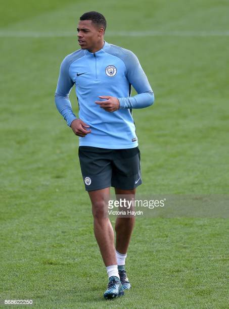 Lucas Nmecha in action during training at Manchester City Football Academy on October 31 2017 in Manchester England