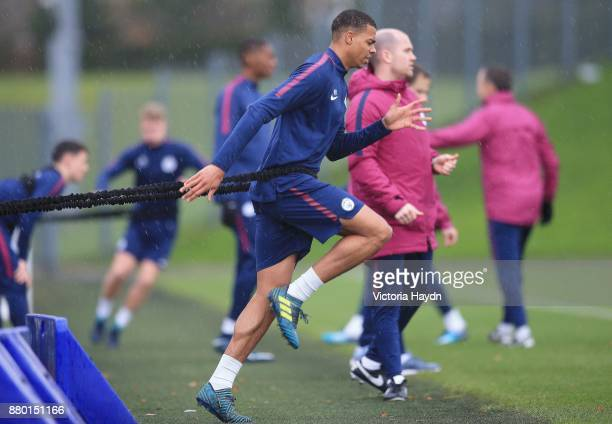 Lucas Nmecha in action during training at Manchester City Football Academy on November 27 2017 in Manchester England