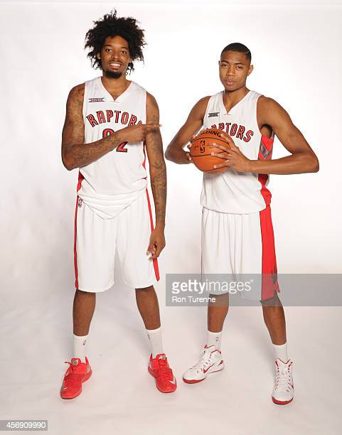 Lucas Nogueira and Bruno Caboclo of the Toronto Raptors poses for a photo during Media Day September 29 2014 at the Air Canada Centre in Toronto...