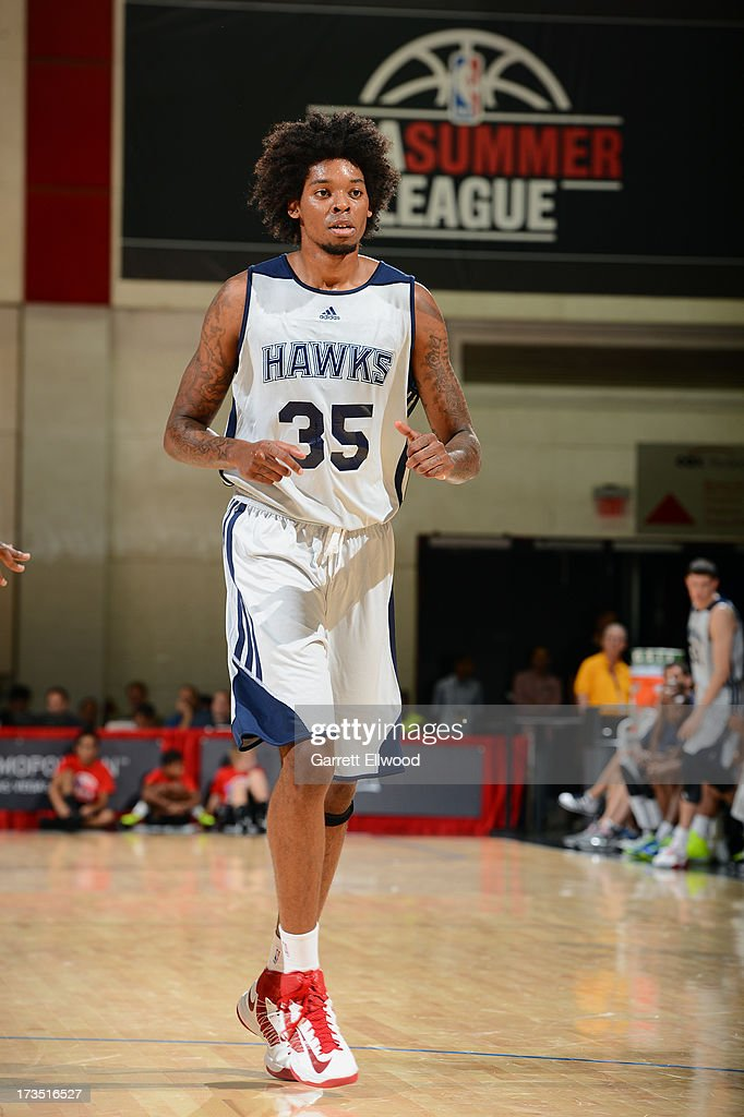 Lucas Nogueira #35 of the Atlanta Hawks runs up the court against the San Antonio Spurs during NBA Summer League on July 15, 2013 at the Cox Pavilion in Las Vegas, Nevada.