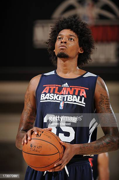 Lucas Nogueira of the Atlanta Hawks shoots a foul shot against the Los Angeles Clippers during NBA Summer League on July 12 2013 at the Cox Pavilion...