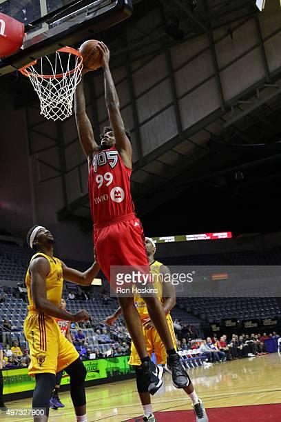 Lucas Nogueira of the Raptors 905 dunks against the Fort Wayne Mad Ants during their NBDL game at Memorial Coliseum November 15 2015 in Fort Wayne...
