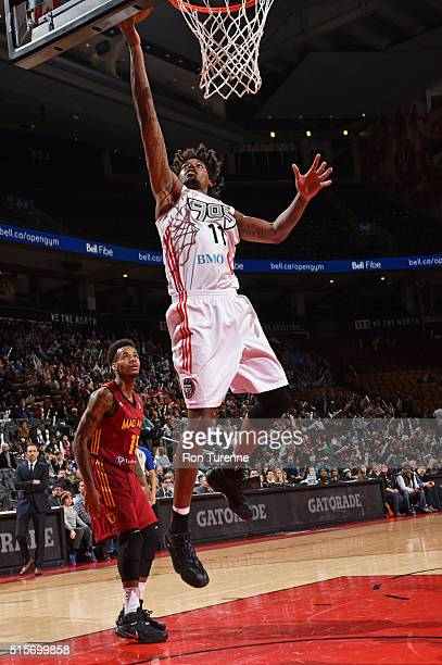 Lucas Nogueira of the Toronto Raptors 905 drives to the basket against the Fort Wayne Mad Ants during the NBA DLeague game on March 14 at the Air...