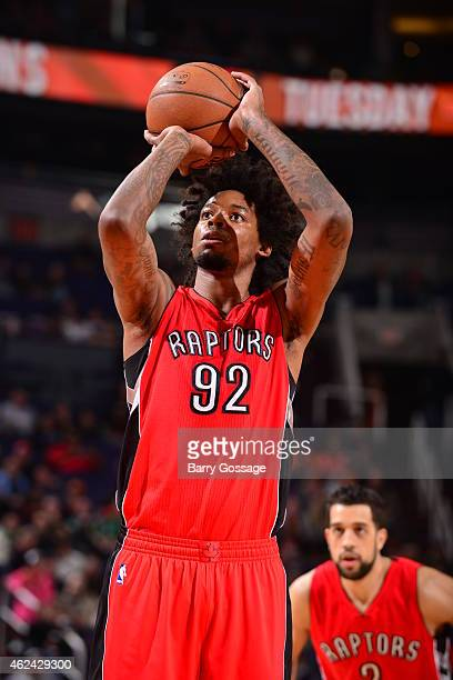 Lucas Nogueira of the Toronto Raptors attempts a free throw against the Phoenix Suns on January 4 2015 at US Airways Center in Phoenix Arizona NOTE...