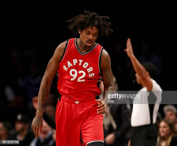Lucas Nogueira of the Toronto Raptors celebrates his basket in the first quarter against the Brooklyn Nets at the Barclays Center on January 17 2017...