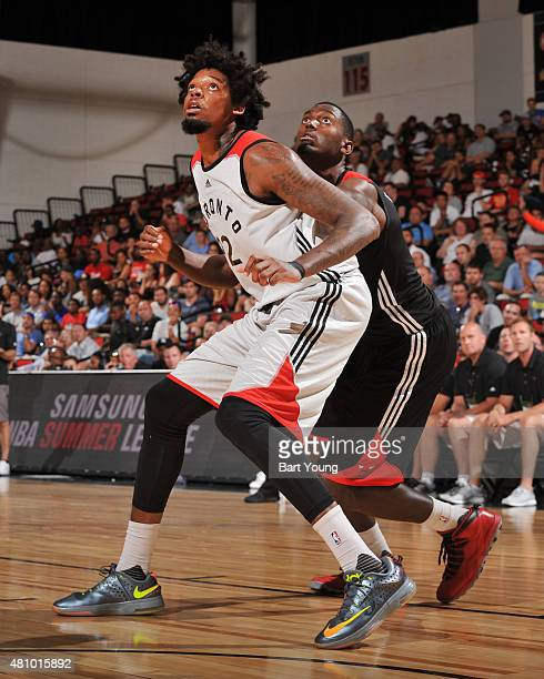 Lucas Nogueira of the Toronto Raptors defends the basket against the Toronto Raptors during the game on July 16 2015 at Cox Pavilion Las Vegas Nevada...
