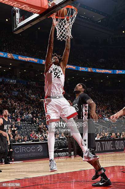 Lucas Nogueira of the Toronto Raptors dunks against the Brooklyn Nets on January 13 2017 at the Air Canada Centre in Toronto Ontario Canada NOTE TO...