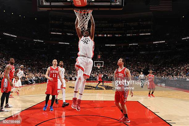 Lucas Nogueira of the Toronto Raptors dunks against the Philadelphia 76ers on April 12 2016 at the Air Canada Centre in Toronto Ontario Canada NOTE...