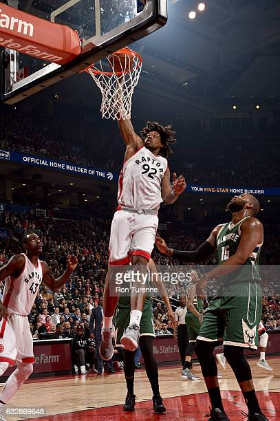 Lucas Nogueira of the Toronto Raptors dunks the ball against the Milwaukee Bucks on January 27 2017 at the Air Canada Centre in Toronto Ontario...