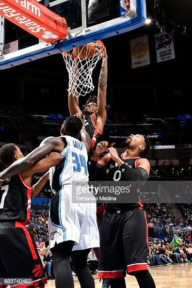 Lucas Nogueira of the Toronto Raptors dunks the ball during the game against the Orlando Magic on February 3 2017 at Amway Center in Orlando Florida...