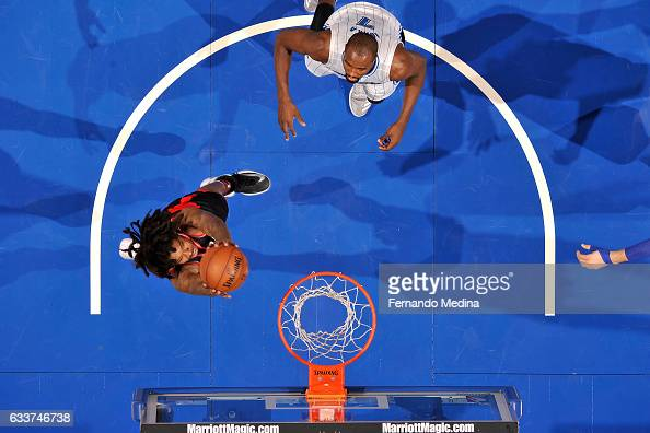 Lucas Nogueira of the Toronto Raptors goes for the dunk during the game against the Orlando Magic on February 3 2017 at Amway Center in Orlando...