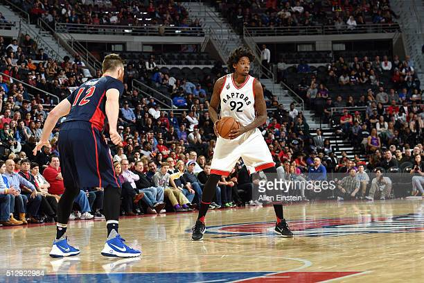 Lucas Nogueira of the Toronto Raptors handles the ball during the game against the Detroit Pistons on February 28 2016 at The Palace of Auburn Hills...