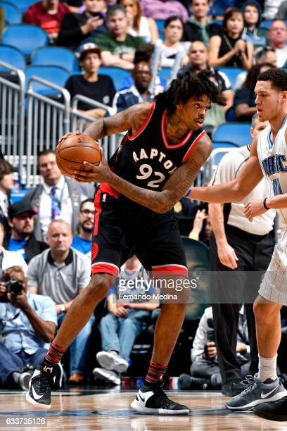 Lucas Nogueira of the Toronto Raptors handles the ball during the game against the Orlando Magic on February 3 2017 at Amway Center in Orlando...