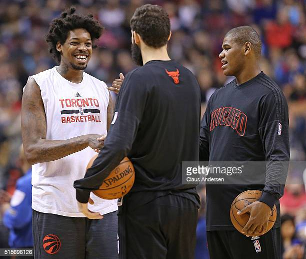 Lucas Nogueira of the Toronto Raptors has some fun prior to action against the Chicago Bulls in an NBA game at the Air Canada Centre on March 14 2016...