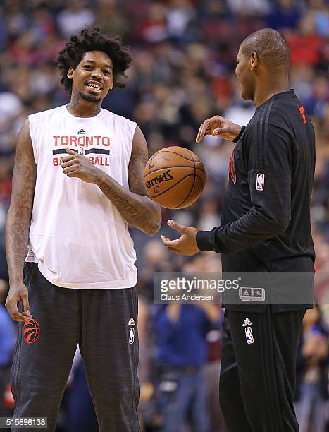 Lucas Nogueira of the Toronto Raptors has some fun with Cristiano Felicio of the Chicago Bulls prior to play in an NBA game at the Air Canada Centre...