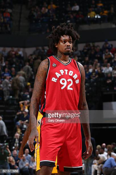 Lucas Nogueira of the Toronto Raptors is seen during the game against the Indiana Pacers on December 14 2015 at Bankers Life Fieldhouse in...