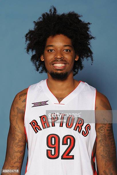 Lucas Nogueira of the Toronto Raptors poses for a photo during 2014 Raptors Media Day at the Air Canada Centre in Toronto Ontario Canada NOTE TO USER...