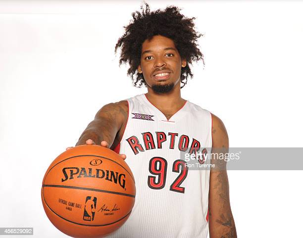 Lucas Nogueira of the Toronto Raptors poses for a photo during Media Day at the Air Canada Centre in Toronto Ontario Canada on September 29 2014 NOTE...